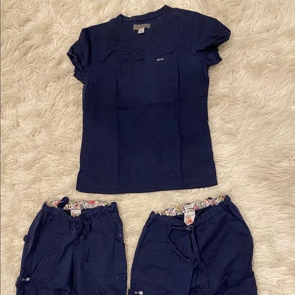 Set of navy koi scrubs